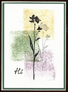 handmade card ... color blocked background ... silhouette flower stamped and stamped off for shadow ... like it!!: