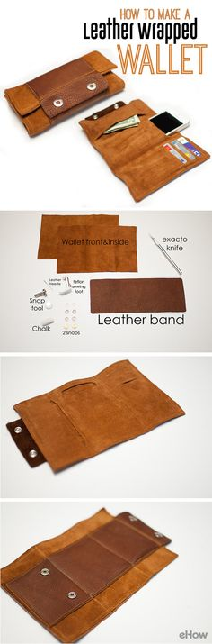 DIY your very own leather wrapped wallet. Don't be afraid of working with leather. It's actually fairly simple and saves you tons! Instructions here: http://www.ehow.com/how_12340690_make-leather-wrap-wallet.html?utm_source=pinterest.com&utm_medium=referral&utm_content=freestyle&utm_campaign=fanpage