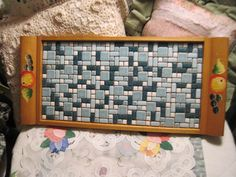 Vintage Tile Mosaic Top Tray Pretty Blues by Daysgonebytreasures, $24.00