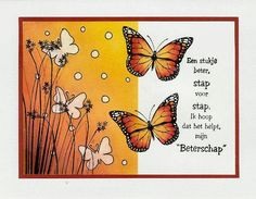 get well soon Dutch Quotes, Get Well Soon, Happy New Year, I Card, Happy Birthday, Butterfly, Stamp, My Love, Artist