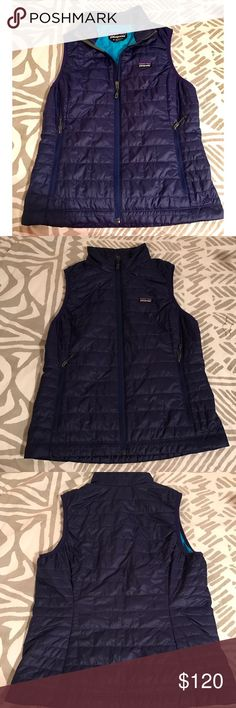 Patagonia Nano Puff Vest *rare color* NWOT Navy Blue with Aqua Blue inside lining Patagonia Nano Puff lightweight vest. Perfect for bundling up and layering in style. Purchased in the Breckenridge, CO Patagonia retail store in 2015 and never wore. Have not been able to find this color anywhere else, but I love it! Vest is a size medium and slightly too big for me. Please no trades. I have too much Patagonia already! NWOT never worn absolutely no damage or pilling. :) Patagonia Jackets…