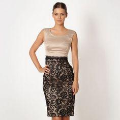 Debut Light gold lace shift dress- at Debenhams.com