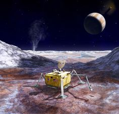 This artist's rendering illustrates a conceptual design for a potential future mission to land a robotic probe on the surface of Europa. The lander is shown with a sampling arm extended, having previously excavated a small area on the surface. The circular dish on top is a dual-purpose high-gain antenna and camera mast, with stereo imaging cameras mounted on the back of the antenna. Three vertical shapes located around the top center of the lander are attachment points for cables that would…