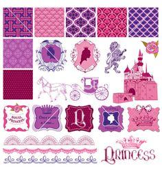 Scrapbook design elements - princess girl birthday vector - by woodhouse84 on VectorStock®