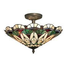 Shop Dale Tiffany  TH12063 Peacock Tiffany Semi Flush Mount Ceiling Light at ATG Stores. Browse our semi flush ceiling lights, all with free shipping and best price guaranteed.