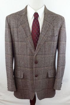 #Vintage PENDLETON Tweed Wool 44 Long Brown Multi-Color Plaid Sport Coat Blazer  #Pendleton #hipsterstyle