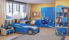 awesome bedroom design with car bed also blue furniture set as well orange paint wall and gray rug on wooden floor