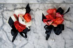corsages - red, white and black