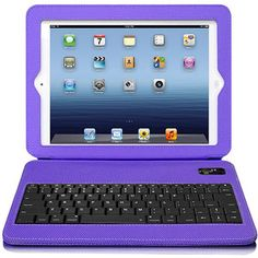 Aluratek Ultra-Slim Non-Slip Grip Folio Case with Keyboard for iPad 2 and New iPad, Purple