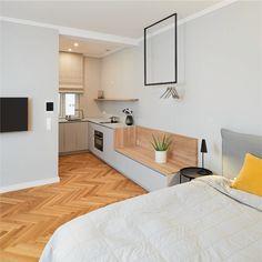 In einem Apartment ist es immer wichtig klare Zonierungen zu schaffen. Der Übergang von Küche zu Wohn-Schlafbereich wird durch eine Sitzbank/Kofferablage akzentuiert. Layout, Bedroom, Architecture, Projects, Design, Home Decor, Banquette Bench, Little Kitchen, Living Area
