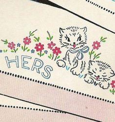 1950s Kittens Mums Pillow Case Transfer Uncut Vogart Hot Iron Transfer --- #Pillowcases