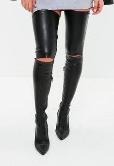 e1d71a198ba0 Black Slashed Over The Knee Boots