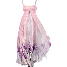 Womans Empire Waist Pink Floral Gown Satin Fairy Dress