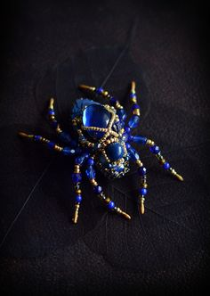 Blue Spider Brooch, Spider jewelry, Steampunk jewelry, Artisan jewelry, Insect jewelry, Gift for Her, Animal jewelry, Gothic jewelry