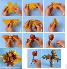 DIY Leaf Flowers flowers diy crafts home made easy crafts craft idea crafts ideas diy ideas diy crafts diy idea do it yourself diy projects diy craft handmade