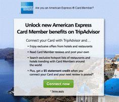 tripadvisor 5 credit TRIPADVISOR AMERICAN EXPRESS PROMO   $5 STATEMENT CREDIT FOR REVIEW Free Cash, Trip Advisor, American, Cards, Maps