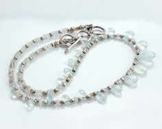 """16""""-18"""" Aquamarine Sterling Silver Necklace"""