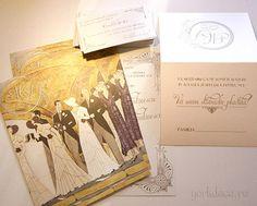 Invitații și accesorii pentru nuntă Gatsby - yorkdeco.ro Gatsby, Art Deco, Artist, Vintage, Artists, Vintage Comics, Art Decor