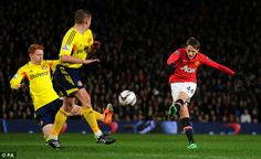 Januzaj drags a shot wide for United during a hit and miss second-half for the midfielder