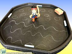 Pirates - Jake Themed Mark Making Pre-Writing Patterns Letter Formation Multi-sensory - Jumbo Chalks Tuff Tray Ideas and Activities