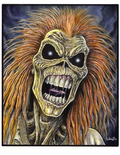 Done in Ink and Transparent acrylics on Strathmore 500 series illustration board. Bruce Dickinson, Skull Stencil, Skull Art, Iron Maiden Mascot, Iron Maiden Posters, Eddie The Head, Iron Maiden Band, Grim Reaper Art, Wood Yard Art