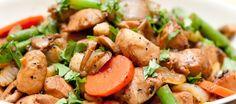 Hähnchen mit Karotten, grünen Bohnen und Champignons - Vital kochen