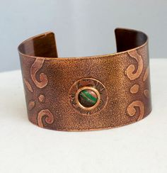 Hand Etched Copper Cuff with Colors of the Desert by mimi1214 on Etsy