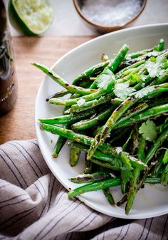 Charred Green Beans with Cilantro-Lime Vinaigrette. A delicious vegetarian side dish!