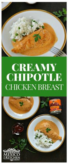 This Creamy Chipotle Chicken Breast recipe is easy to make, just takes a few minutes to be ready, and renders a delicious and beautiful looking meal for the whole family. Authentic Mexican Recipes, Mexican Dinner Recipes, Mexican Meals, Mexican Dishes, New Recipes, Cooking Recipes, Healthy Recipes, Favorite Recipes, French Recipes