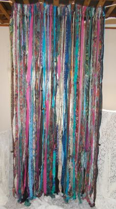 BOHO Gypsy Hippie Garland Curtain Room Divider by TheLaurelCottage Room Divider Headboard, Metal Room Divider, Small Room Divider, Office Room Dividers, Room Divider Bookcase, Fabric Room Dividers, Portable Room Dividers, Bamboo Room Divider, Decorative Room Dividers