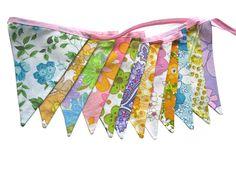 Vintage Retro Multi-Colour Rainbow Floral Flag Bunting. Party, Home Decoration