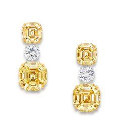 Octagonal cut yellow diamonds.