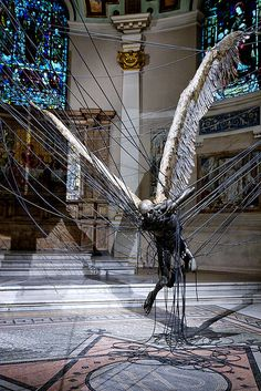 Sculpture art - Paul Fryer (Morning Star), an installation at the Holy Church in Marylebone in which depicts a wax Lucifer suspended by highpower lines Land Art, Illusion Kunst, Goth Art, Morning Star, Angels And Demons, Horror Art, Public Art, Oeuvre D'art, Art And Architecture