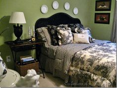 toile bedroom ideas   My thrifting finds this week have been added to my toile guest bedroom ...