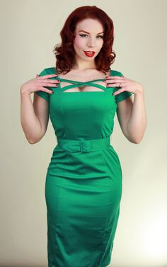 For all the show-stopping vixens out there! Introducing a brand new style - the Velma Dress! This sexy straight wiggle dress features sleeves and criss cross detail on the neckline. Crafted from a quality cotton/spandex stretch blend that hugs your curves! Available in envy-inducing green and ravishing red!  $108.00