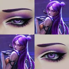 League of Legends Anime Eye Makeup, Anime Cosplay Makeup, Anime Eyes, Costume Makeup, Makeup Art, Lol, Cosplay Makeup Tutorial, Anime Makeup Tutorial, Regard Animal