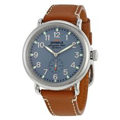 Shinola The Runwell Slate Blue Dial Maple Leather Unisex Watch S0100024