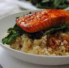Sweet lightly sticky orange glazed salmon, cauliflower rice and chard…pretty simple fish perfection! Orange Glazed Salmon, Grilled Salmon, Fish Recipes, Uk Recipes, Tasty Dishes, Food For Thought, Food Processor Recipes, Seafood, Pork
