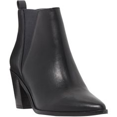Dune Preslee Toe Pointed Block Heel Ankle Boots, Black Leather (1 320 SEK) ❤ liked on Polyvore featuring shoes, boots, ankle booties, black leather bootie, flat ankle boots, leather booties, black booties and black flat boots