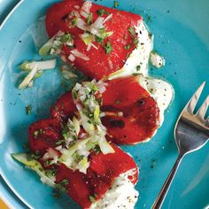 Piquillo Peppers Stuffed with Goat Cheese from Epicurious.com #myplate #veggie #dairy