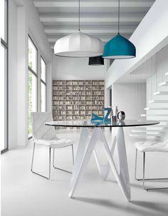 tavolo allungabile in acciaio, legno e vetro extrachiaro