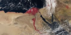 It looks like a scene straight out of the Bible: a new satellite image from the European Space Agency shows the Nile river flowing blood red. Nile River, Red River, Carl Sagan, April Snow, Le Nil, Desert Area, Red Images, Sang, Cairo