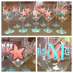 Hand painted starfish wine glass with monogram on Etsy, $15.00