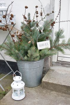 Easy to Make Outdoor Christmas Decorations on a Budget Christmas greens and pine cones in a bucket Christmas Porch, Noel Christmas, Scandinavian Christmas, Country Christmas, Winter Christmas, All Things Christmas, Christmas Crafts, Snowman Crafts, Green Christmas
