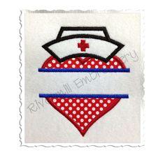 $2.95Split Applique Heart With Nurse Hat Machine Embroidery Design