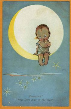 'Lonesome! Poor little man in the moon...' ~ vintage card, by Mabel Lucie Attwell ~ (sun, moon stars, heavens, night sky, celestial, illustration, art)