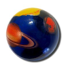 Solar System Marble 35mm (1.4 inch) - Boxed Art Glass Shooter Boxed Set by Shasta Visions Made in the USA of Recycled Glass This amazing collectible shooter marble comes in a clear box and includes ed