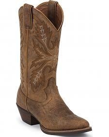 Justin Tan Puma Silver Cowgirl Boots - Round Toe