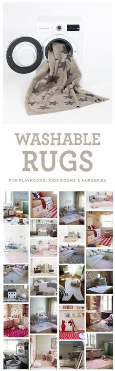 Brilliant idea! Washable rugs for playrooms, kids rooms, and nurseries! Comes in neutrals as well as colors for boys and girls rooms. It's a nice alternative to a playmat, too.