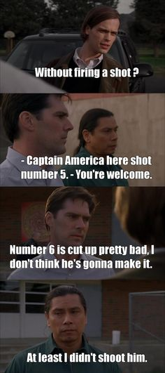 """I swear, I could not stop laughting these are just the final quotes but """"rivaly"""" between Hotch and Blackwolf mades my laugh too much Hotch Criminal Minds, Criminal Minds Quotes, Spencer Reid Criminal Minds, Dr Spencer Reid, Tv Quotes, Funny Quotes, Funny Memes, Hilarious, Luke Alvez"""